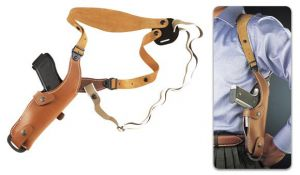 Leather holster for pistols and revolvers